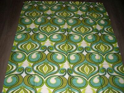 Vintage retro 60s 70s green teal lime abstract funky fabric length