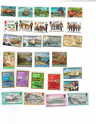 Guernsey Sets + 5 Christmas Sheets, 1984,5,8,9 & 90 all VF/MNH  88 Stamps Total