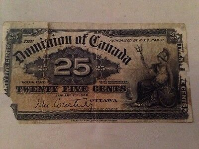 1900 Dominion Of Canada 25 Cent Bank Note Fractional Currency
