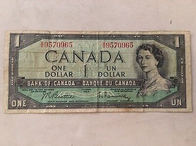 1954 Canadian Dollar Bill- Devil In Queens Hair
