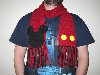 Warm and cozy Handmade crocheted Mickey Mouse Scarf in red, black and yellow