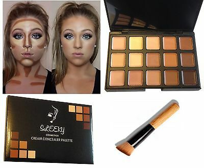 15 Colors Contour Face  Concealer Make up Cream Palette with Wooden Brush SQ2
