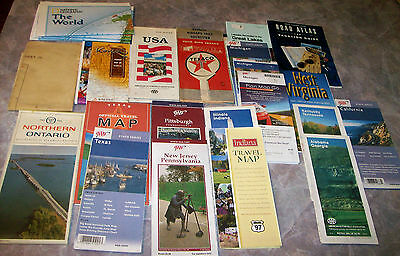 Lot Vintage Maps US Korea World Canada State DC Army Texaco AAA - Does aaa have maps of the us
