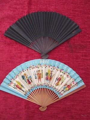 1950's Vintage Fans (2) BOAC & Chinese Black Paper  fd13