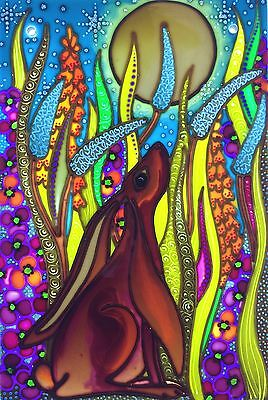 """The chestnut moon gazing hare"". Unique hand painted Stained Glass panels by Deb"