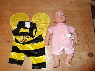 "Zapf Creation Baby Doll in Bee outfit 13"" Doll"