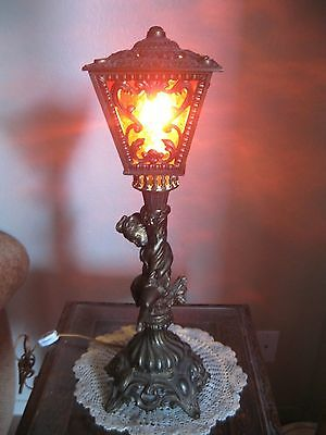 RARE! Antique Arts and Crafts Red Slag Glass Brass Bronze Cherub Base Table Lamp