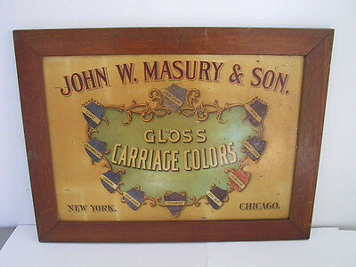 Antique 1890s Tin Litho Advertising Sign MASURY & SONS CARRIAGE COLORS