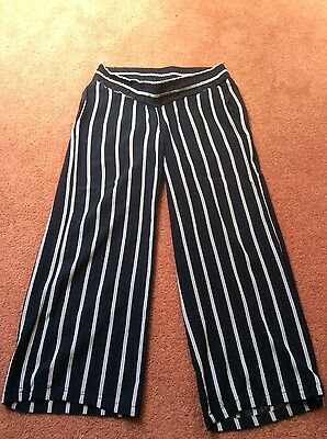 Navy blue and white striped under bump maternity trousers from H&M size 10