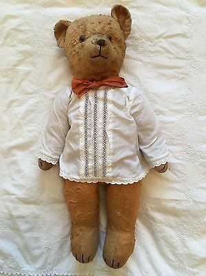 """Large Antique / Vintage Beautiful Teddy Bear 21.5"""" Straw Filled All Original"""