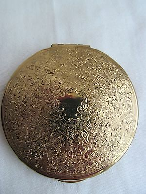 Vintage KIGU Round Powder Compact Gold Colour Engine Turned Top and Base England