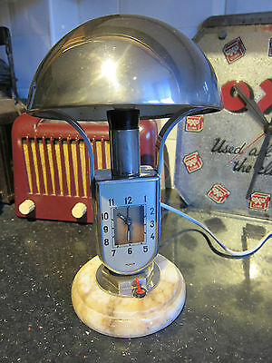 Rare 1930's MOFEM art deco bedside lamp with alarm clock
