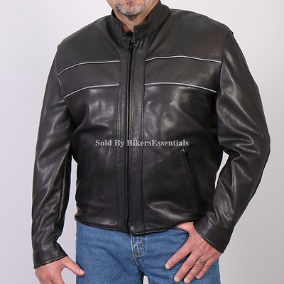 Men's New Premium Leather Motorcycle Black Jacket with Reflective Piping S-4XL
