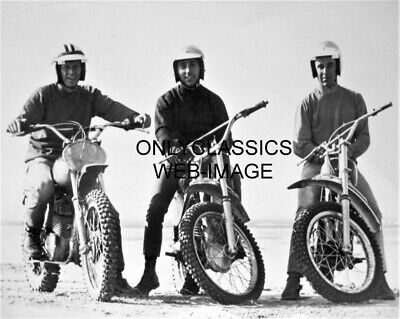 '71 Steve Mcqueen Mert Lawwill Malcolm Smith Motorcycle 8X10 Photo On Any Sunday