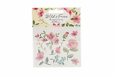 New Vintage Style Flower Floral Wild and Free Pack of Temporary Tattoos