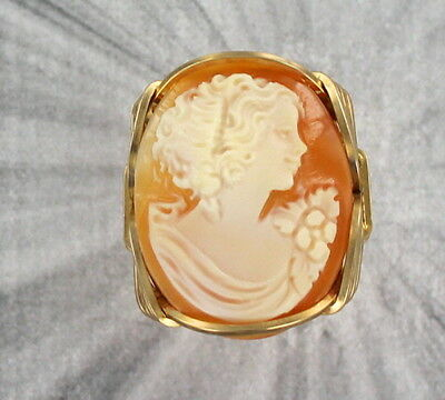 Vintage Shell Cameo Ring In 14Kt Rolled Gold Size 5 To 15 ----Wire Wrapped