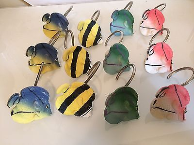 Shower Curtain Hooks Rings Set Colorful Resin 12 Tropical Fish Colors Different