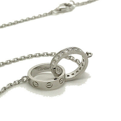 Cartier Baby 'Love' Necklace 18k White Gold with Diamonds