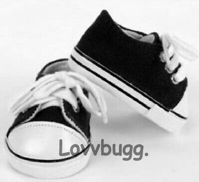 "Black Tennis Sneakers Wh for American Girl 18"" Doll Shoes LOVVBUGG TRUE US SELLR"