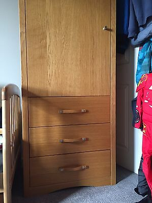 Small Pine effect wardrobe with 3 drawers Underneath - Great For Kids Bedroom