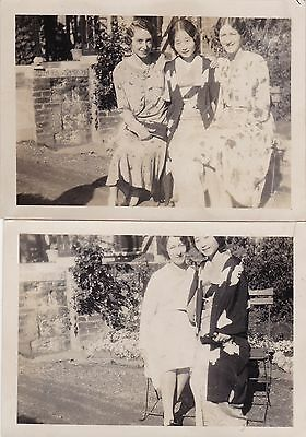 Two Antique c1930s Photographs - Ladies, Japanese Woman In Kimono - Cornwall