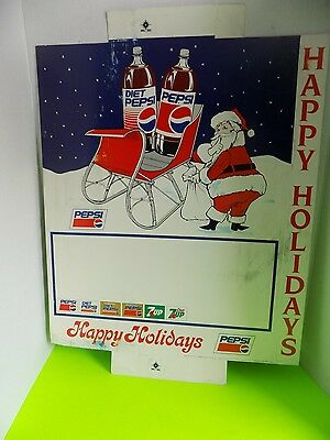 Pepsi Cola Advertising Cardboard Sign Vintage Christmas Santa  21.5x18.5 Inches