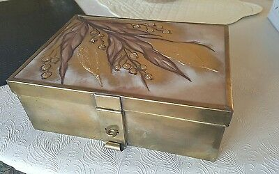 Antique Arts and Crafts Style Brass Dresser Box Marked Porcelanarts