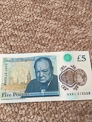 Five. £5 Rare Low Serial Note AA01