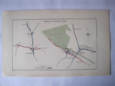 1928 RAILWAY CLEARING HOUSE Junction Diagram No.76 HOPE & CONNAH'S QUAY
