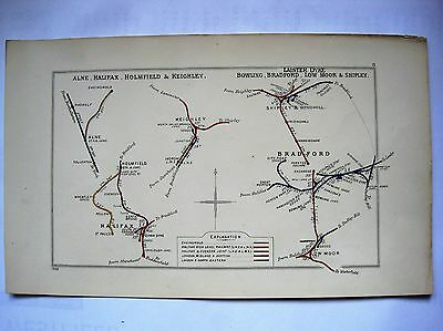 1928 RAILWAY CLEARING HOUSE Junction Diagram No.8 HALIFAX & BRADFORD AREA'S