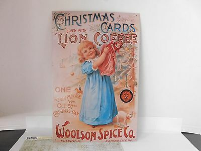Vintage Metal Ad Sign, Woolson Spice Co. Lion Coffee