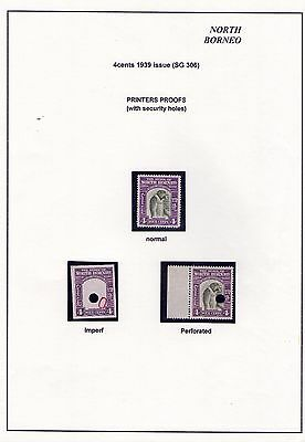 North Borneo 1939 4c value 2 proofs one with centre missing and punched holes