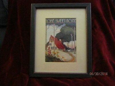 "Mary Engelbreit Framed Picture ""Home Sweet Home"" Gnome-Like Home Vintage"