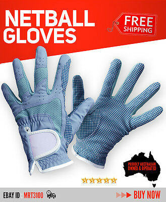 High Quality Professional Grade Netball Gloves - Small/Medium - Skyblue