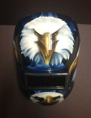 Custon Made Airbrushed Bald Eagle With Blue Reality Flames Pipeliner Helmet 1/1
