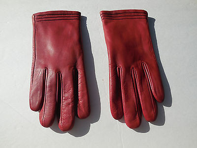 *aris Ladies Red Soft Leather Winter Gloves Polyester Lining Size 7