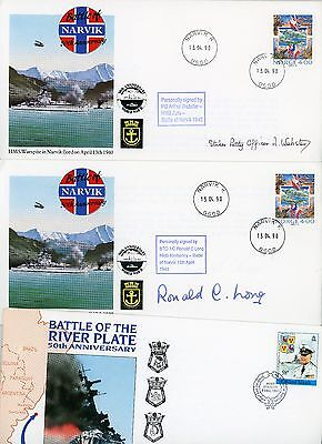 3 RN, Royal Navy, WW2, First Day Covers, Battle of Narvick, Signed, Limited Nos.