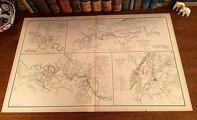 Original Antique CSA US Civil War Map FREDERICKSBURG WINCHESTER Virginia VA