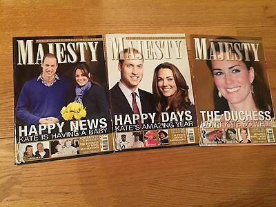 KATE MIDDLETON - Lot of 3 MAJESTY magazine - DUCHESS OF CAMBRIDGE - PRINCE WILL