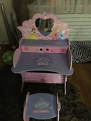 Girls princess dressing table with built in mirror and princess stool