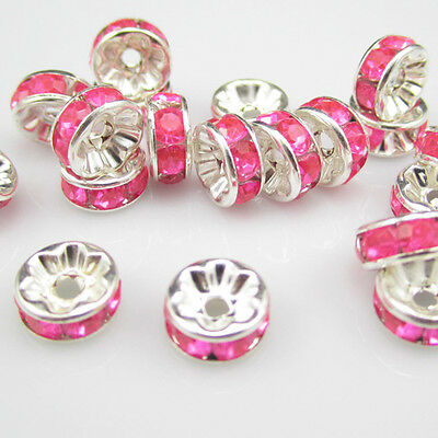 NEW for Jewelry 100pcs 8MM Size Plated silver crystal spacer beads Rose colors