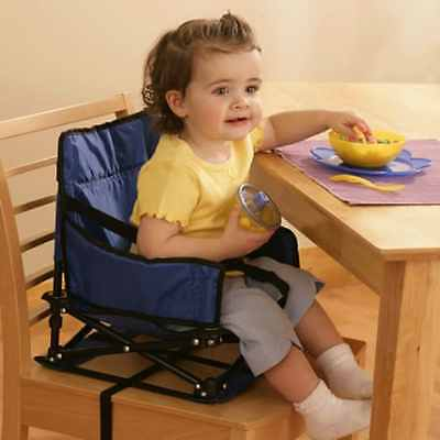 Baby Portable Booster Activity Chair Steel Toddler Folding Seat With Straps Blue