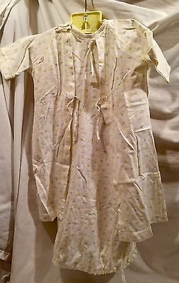 2pc Set Vintage Carter's Baby Layette Night Gown Robe Yellow Floral Sz 6 Months