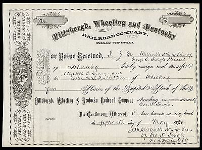 1880 Pittsburgh, Wheeling and Kentucky RR (PCC&StL RR) Stock Certificate VF+