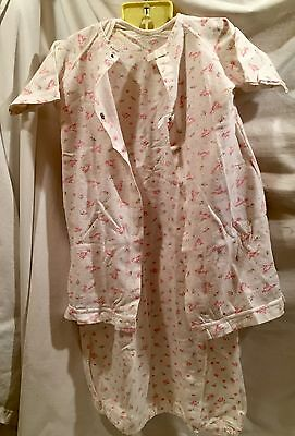 2pc Set Vintage Carter's Baby Layette Night Gown Robe Pink Sz 6 Months