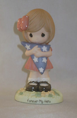Forever My Hero Precious Moments Girl Holding American Flag Patriotic NWOB