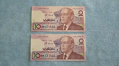 Currency – 1987 Morocco 10 Dirhams – 2 total – Sequential Serial Numbers