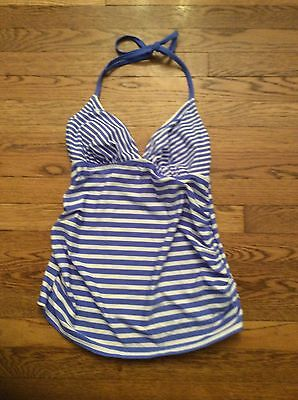 Liz Lange Maternity Tankini Top Only Bathing Suite Blue White Striped Small New
