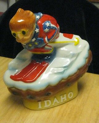 Vintage 1972 Ezra Brooks Idaho Potato Skier Whiskey Liquor Decanter Bottle