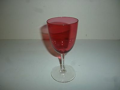Antique Cranberry Glass Small Wine With Clear Glass Stem